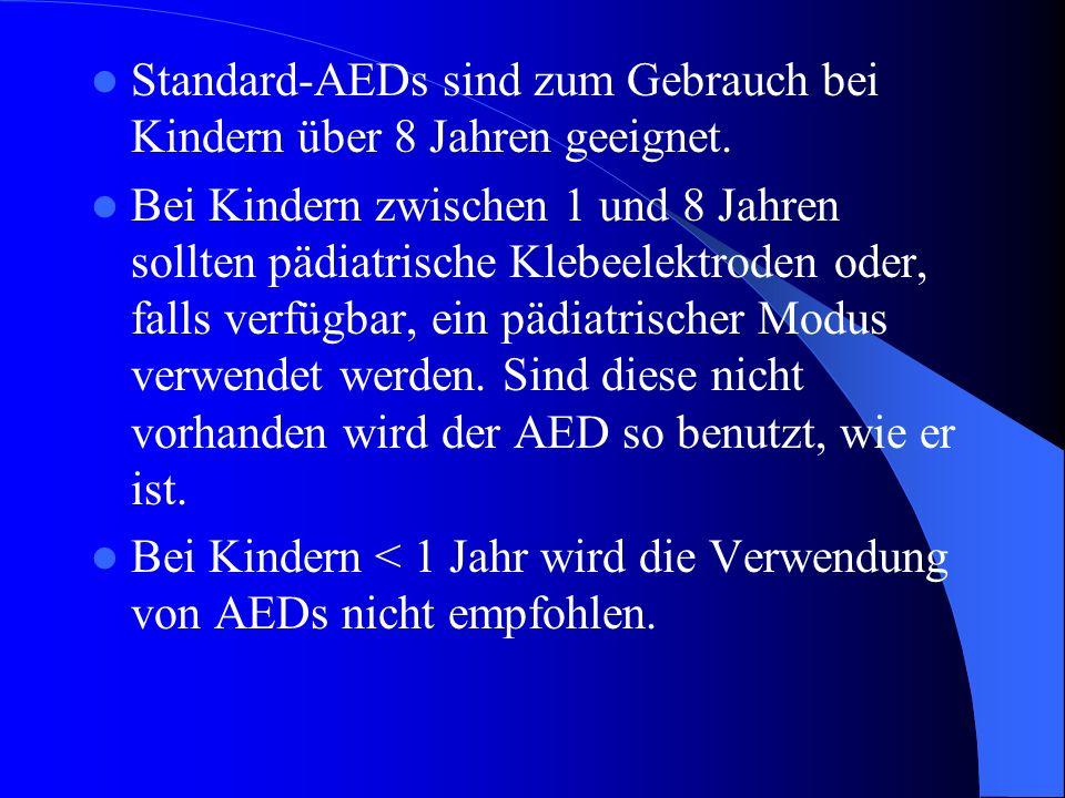 Standard-AEDs sind zum Gebrauch bei Kindern über 8 Jahren geeignet.