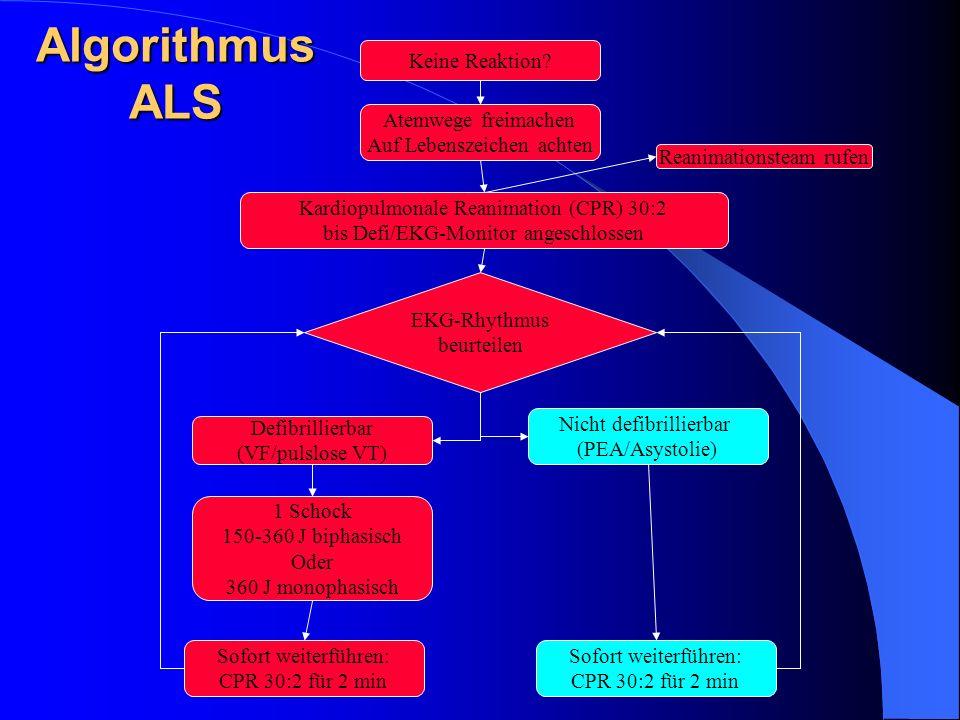 Algorithmus ALS Keine Reaktion Atemwege freimachen
