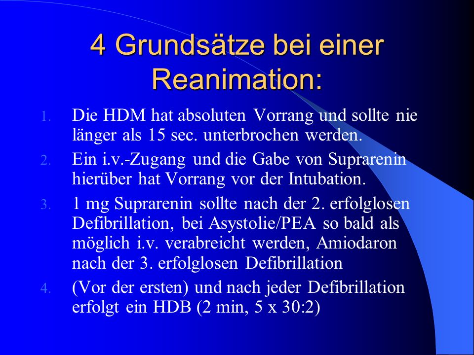 4 Grundsätze bei einer Reanimation: