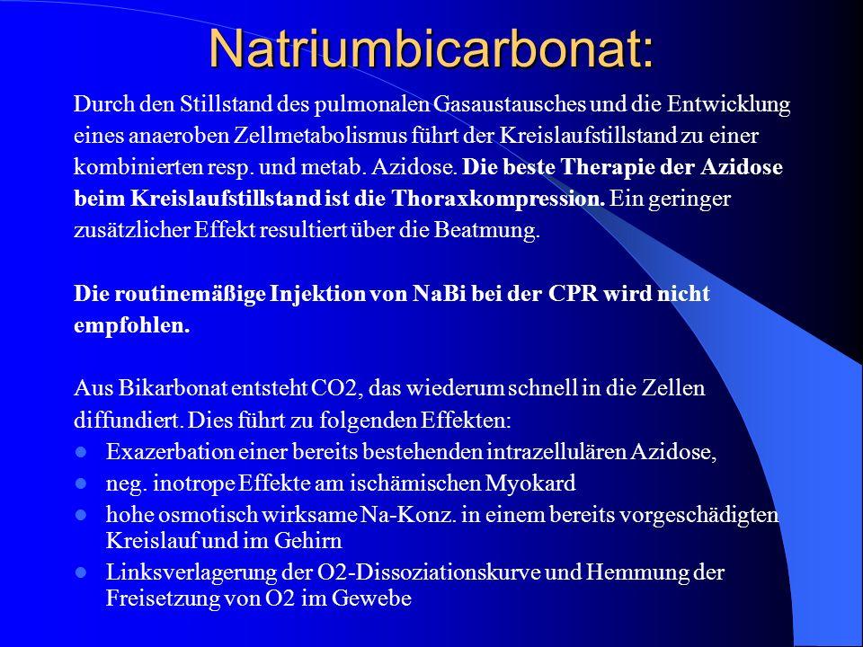 Natriumbicarbonat: Durch den Stillstand des pulmonalen Gasaustausches und die Entwicklung.