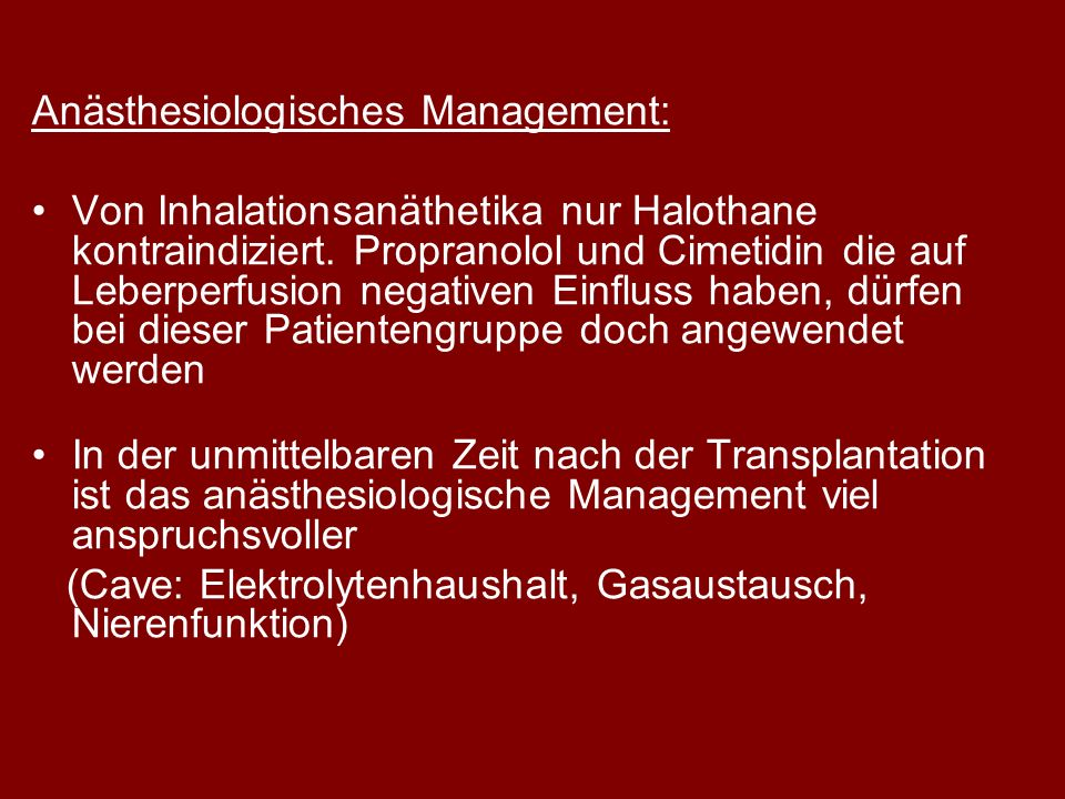 Anästhesiologisches Management: