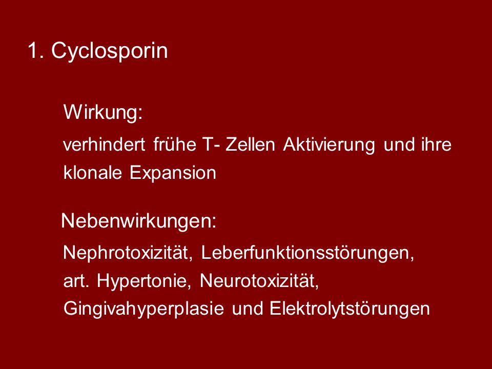 Cyclosporin verhindert frühe T- Zellen Aktivierung und ihre