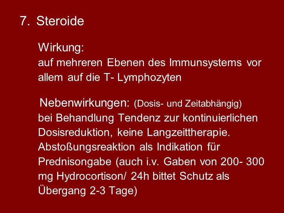 Steroide Nebenwirkungen: (Dosis- und Zeitabhängig)