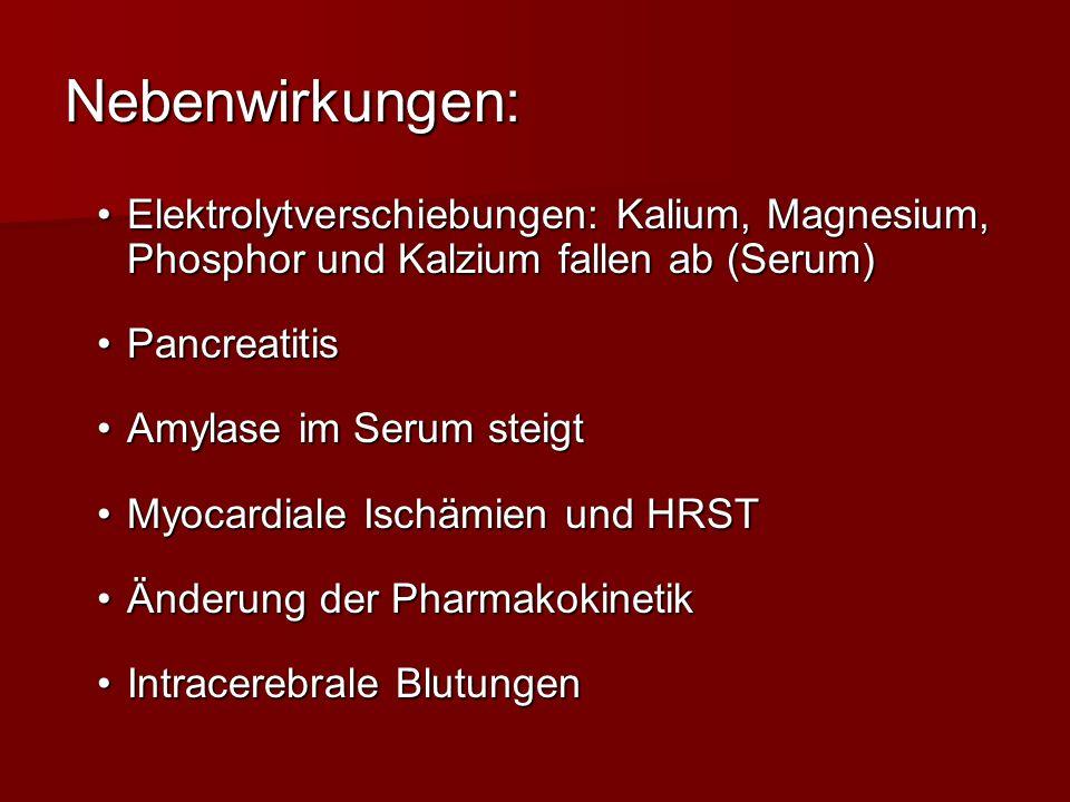 Nebenwirkungen: Elektrolytverschiebungen: Kalium, Magnesium, Phosphor und Kalzium fallen ab (Serum)