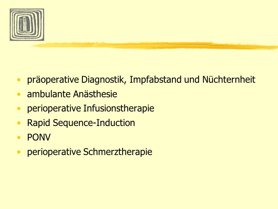 präoperative Diagnostik, Impfabstand und Nüchternheit