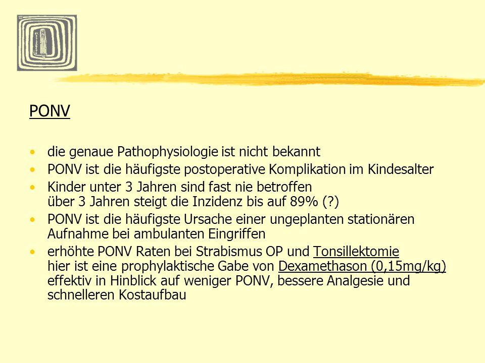 PONV die genaue Pathophysiologie ist nicht bekannt