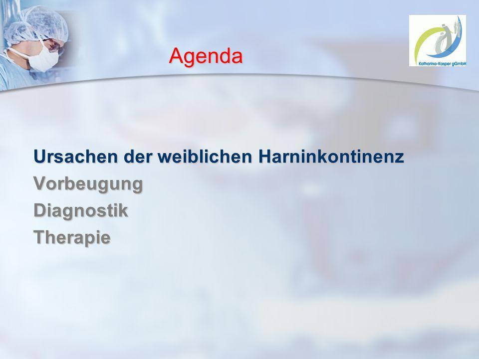 Agenda Ursachen der weiblichen Harninkontinenz Vorbeugung Diagnostik