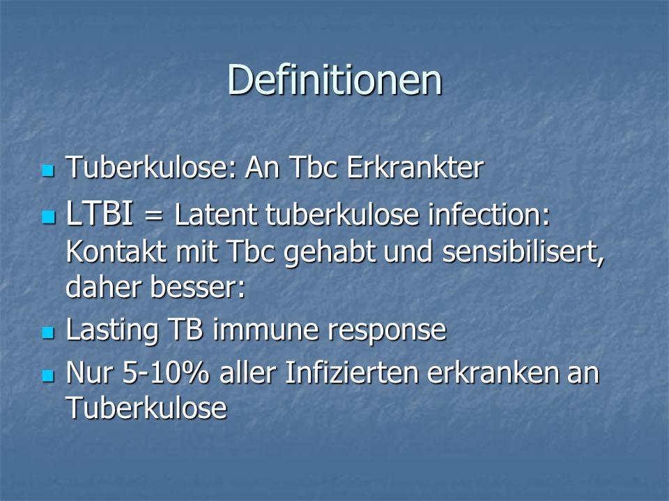 Definitionen Tuberkulose: An Tbc Erkrankter. LTBI = Latent tuberkulose infection: Kontakt mit Tbc gehabt und sensibilisert, daher besser: