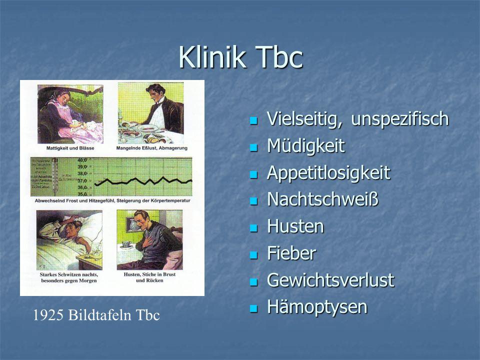 Klinik Tbc Vielseitig, unspezifisch Müdigkeit Appetitlosigkeit