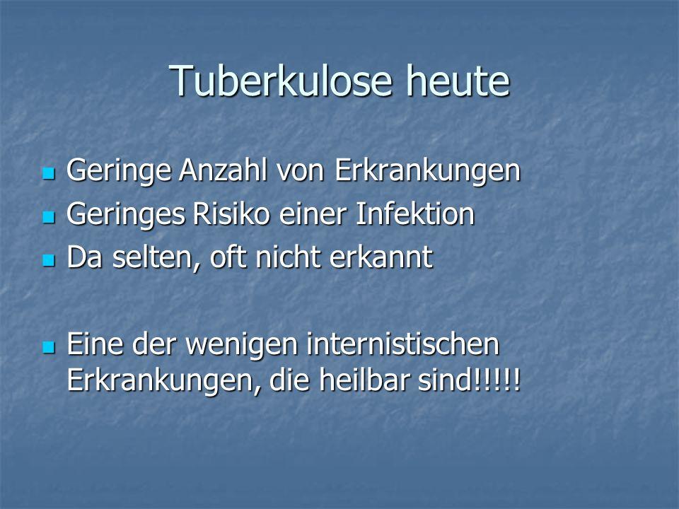 Tuberkulose heute Geringe Anzahl von Erkrankungen