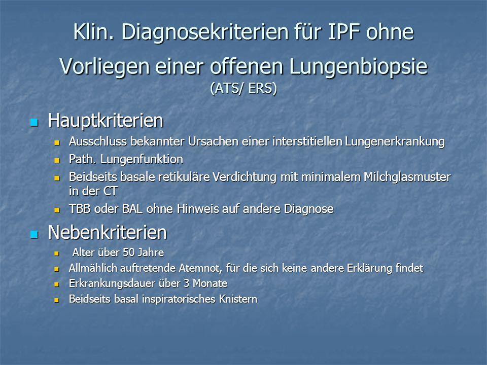 Klin. Diagnosekriterien für IPF ohne Vorliegen einer offenen Lungenbiopsie (ATS/ ERS)