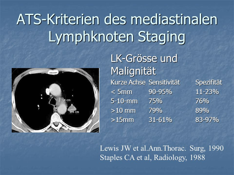 ATS-Kriterien des mediastinalen Lymphknoten Staging