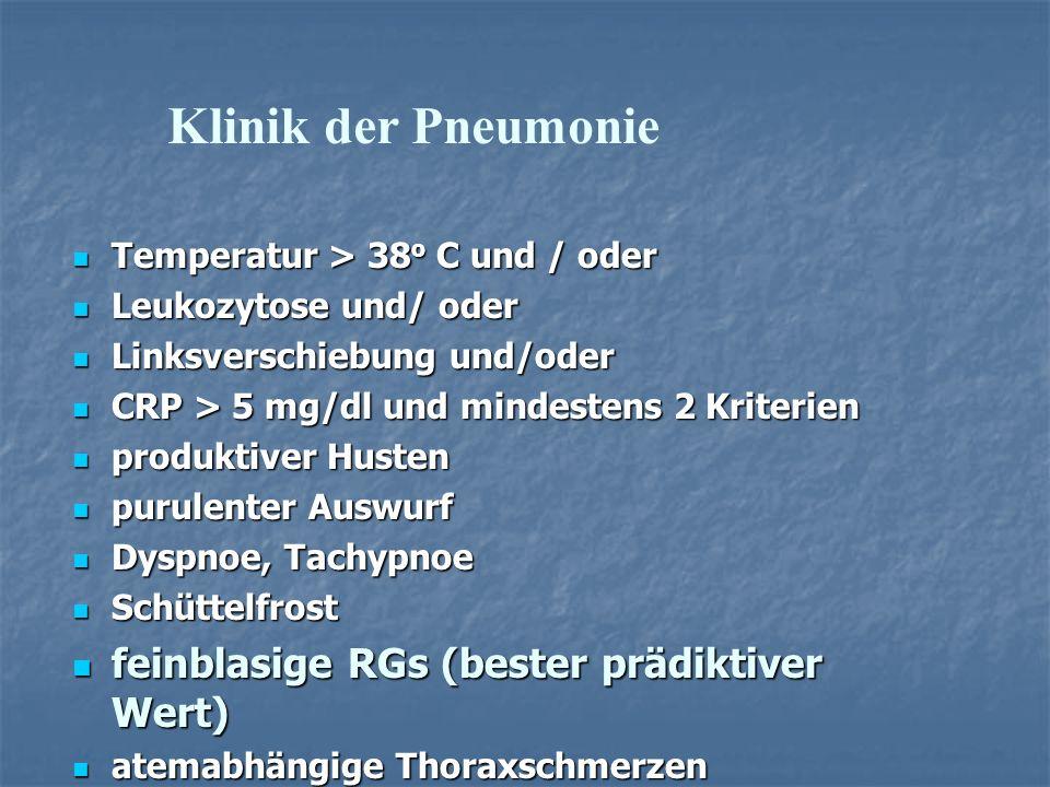 Klinik der Pneumonie feinblasige RGs (bester prädiktiver Wert)