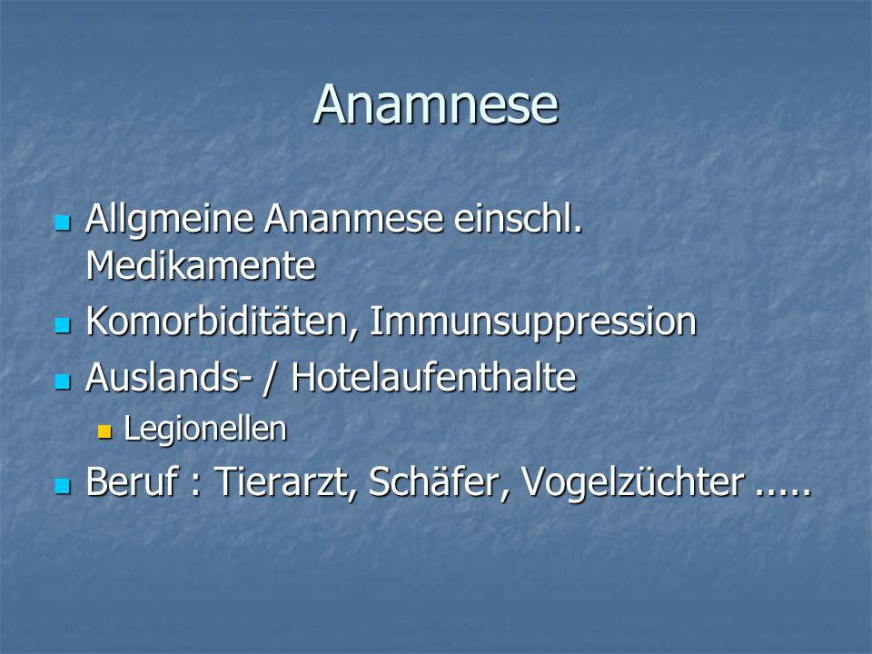 Anamnese Allgmeine Ananmese einschl. Medikamente