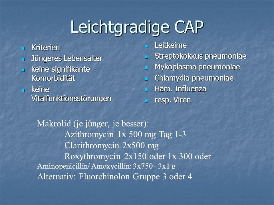 Leichtgradige CAP Makrolid (je jünger, je besser):