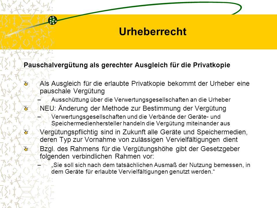 Urheberrecht Pauschalvergütung als gerechter Ausgleich für die Privatkopie.