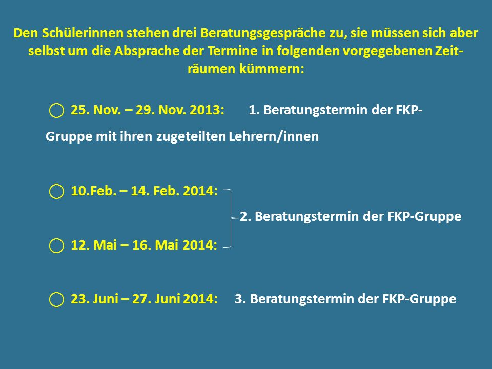 2. Beratungstermin der FKP-Gruppe