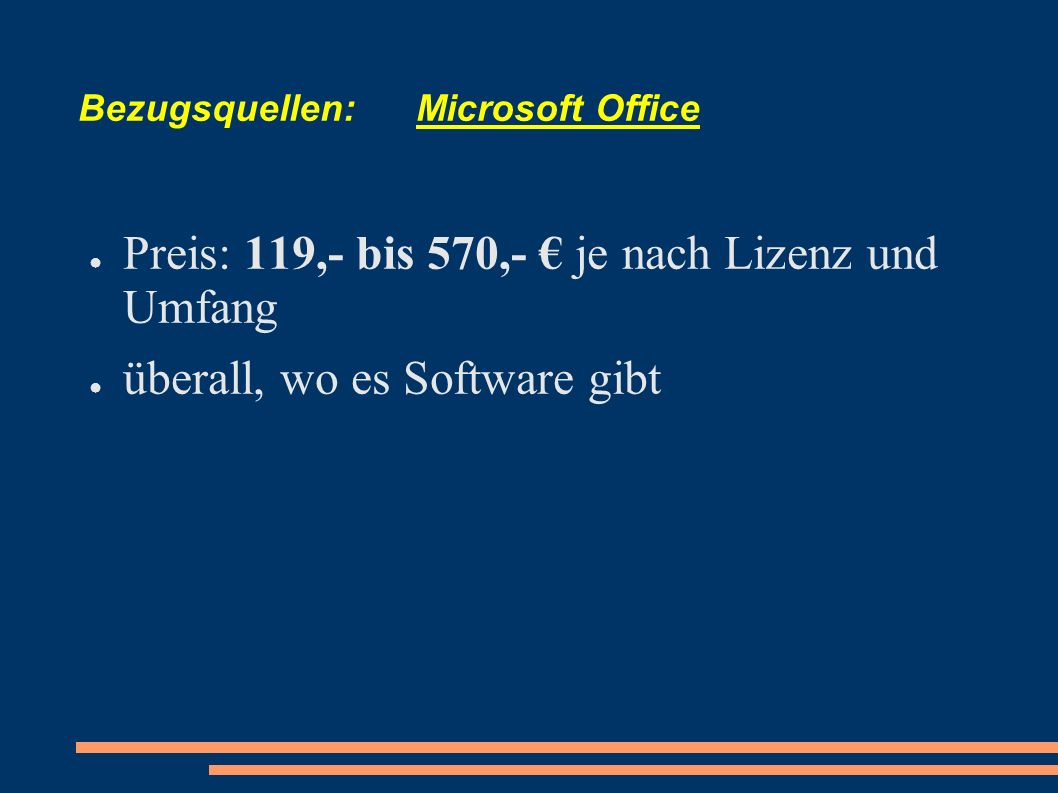 Bezugsquellen: Microsoft Office