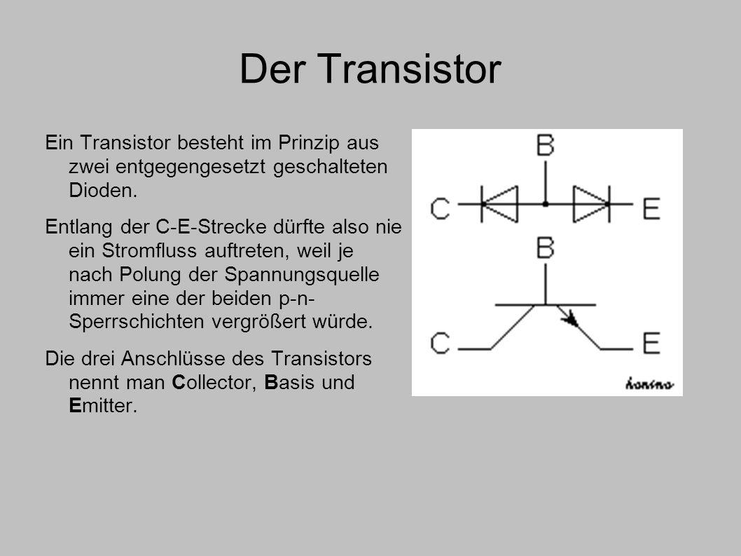 Der Transistor Ein Transistor besteht im Prinzip aus zwei entgegengesetzt geschalteten Dioden.