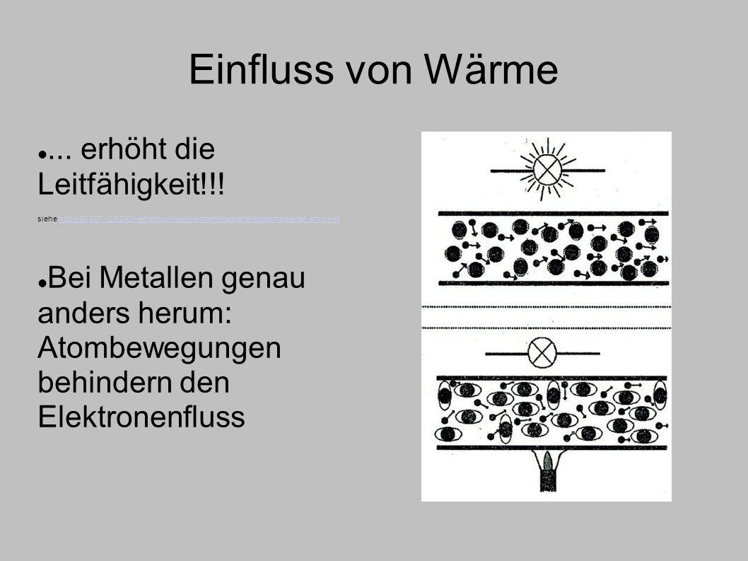 Einfluss von Wärme ... erhöht die Leitfähigkeit!!!