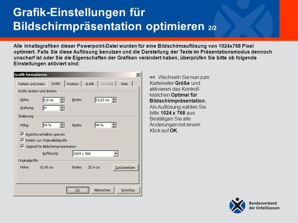 Grafik-Einstellungen für Bildschirmpräsentation optimieren 2/2