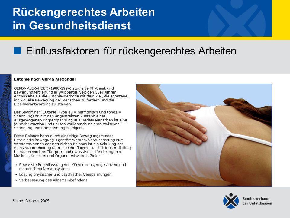 Rückengerechtes Arbeiten im Gesundheitsdienst