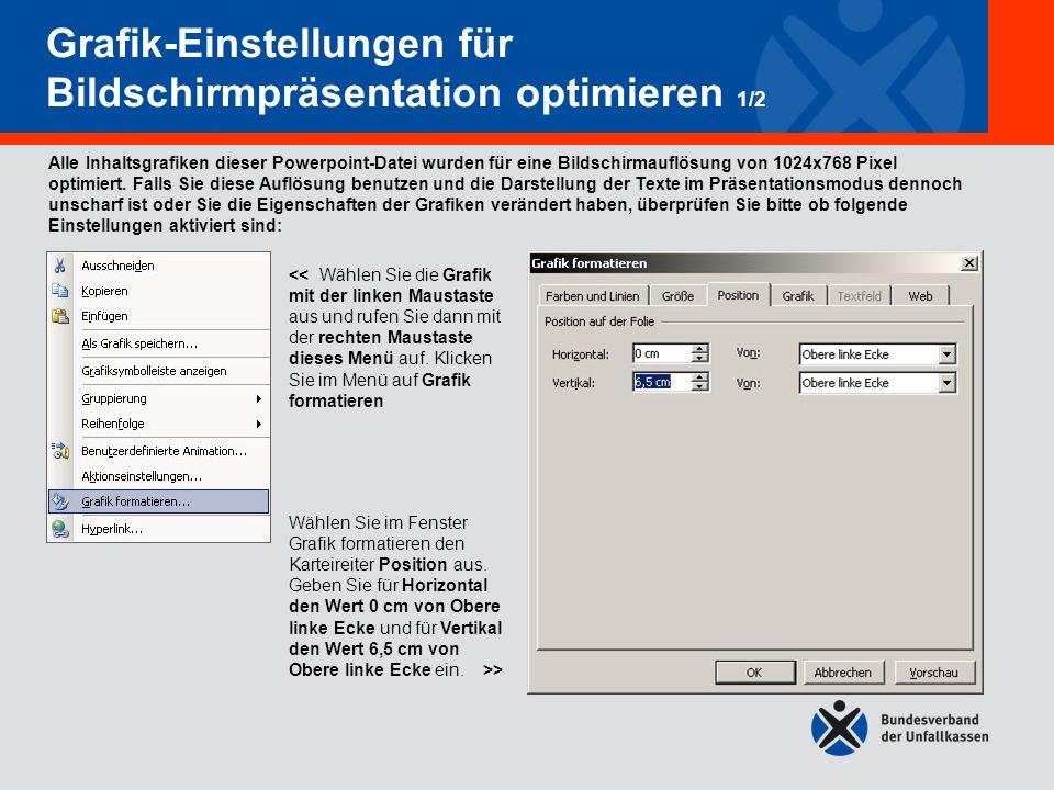 Grafik-Einstellungen für Bildschirmpräsentation optimieren 1/2