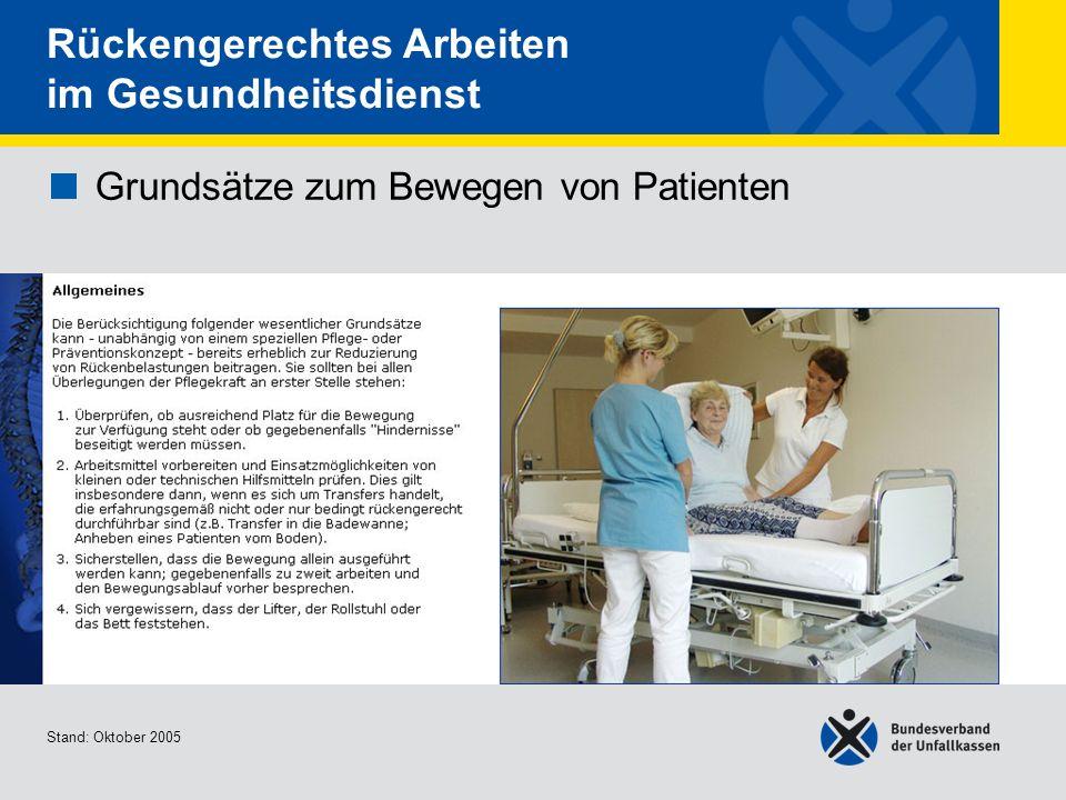 Grundsätze zum Bewegen von Patienten • Allgemeines 1/2