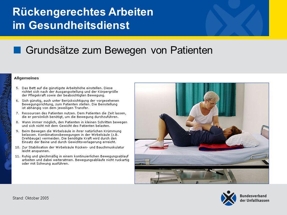 Grundsätze zum Bewegen von Patienten • Allgemeines 2/2
