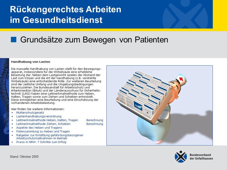 Grundsätze zum Bewegen von Patienten • Handhabung von Lasten