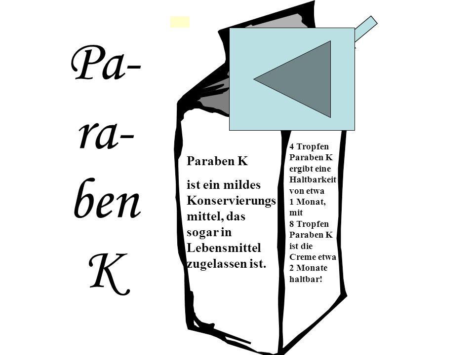 Pa- ra- ben K Haltbar bis: Übermorgen Paraben K