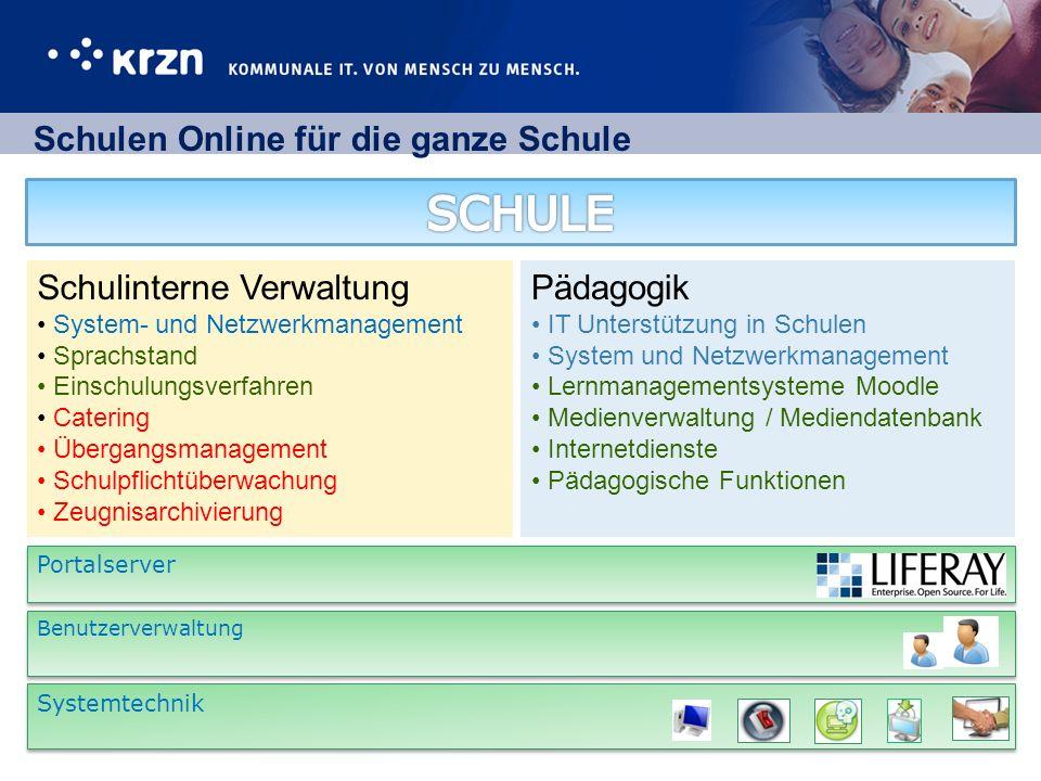 SCHULE Schulen Online für die ganze Schule Schulinterne Verwaltung