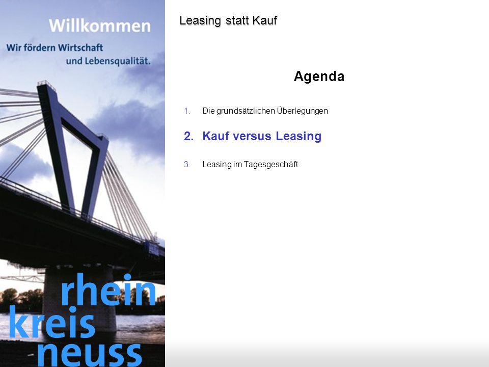 Agenda Leasing statt Kauf Kauf versus Leasing