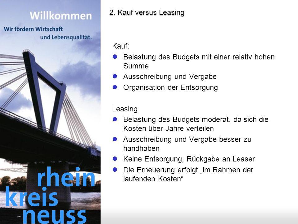 2. Kauf versus Leasing Kauf: Belastung des Budgets mit einer relativ hohen Summe. Ausschreibung und Vergabe.