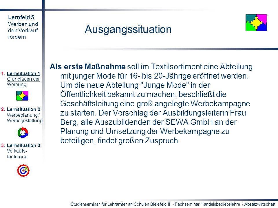 Lernfeld 5 Werben und. den Verkauf. fördern. Ausgangssituation.