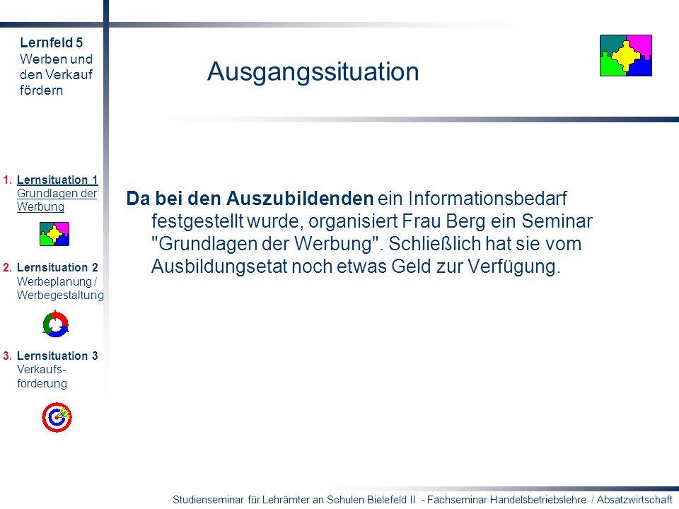 Lernfeld 5 Werben und. den Verkauf. fördern. Ausgangssituation. Lernsituation 1 Grundlagen der Werbung.