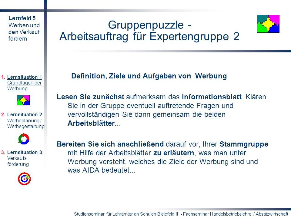 Gruppenpuzzle - Arbeitsauftrag für Expertengruppe 2