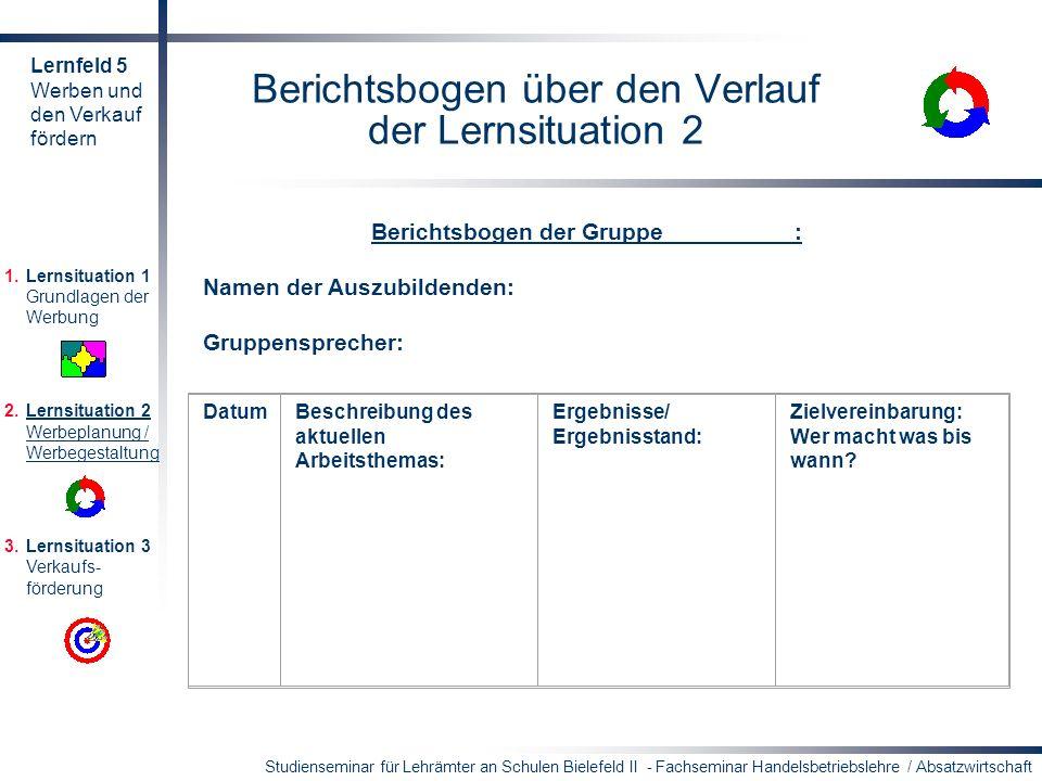 Berichtsbogen über den Verlauf der Lernsituation 2