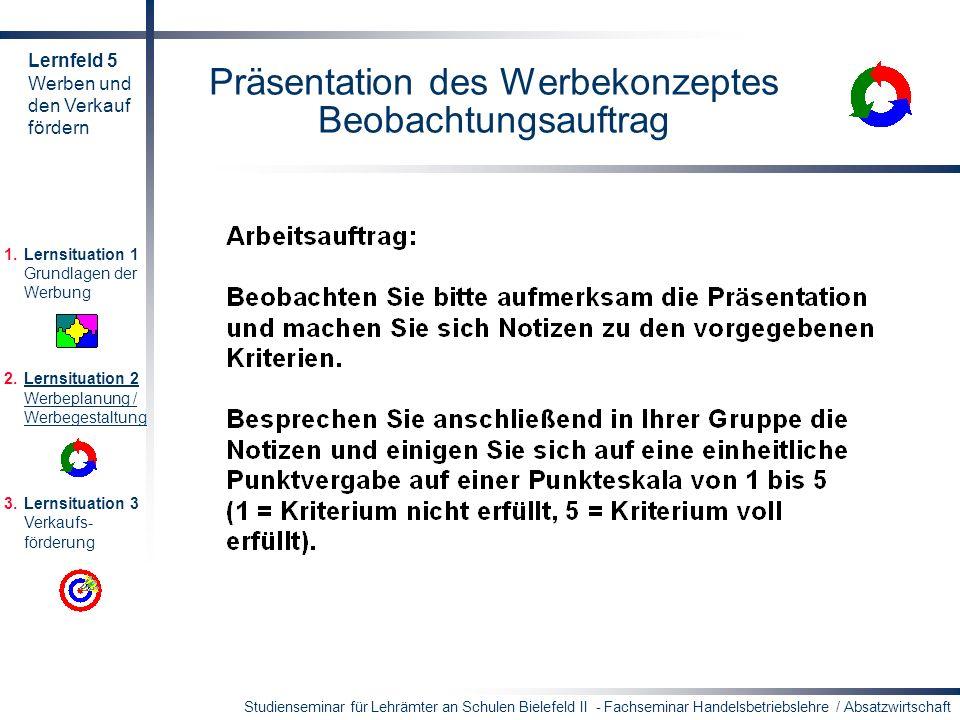 Präsentation des Werbekonzeptes Beobachtungsauftrag