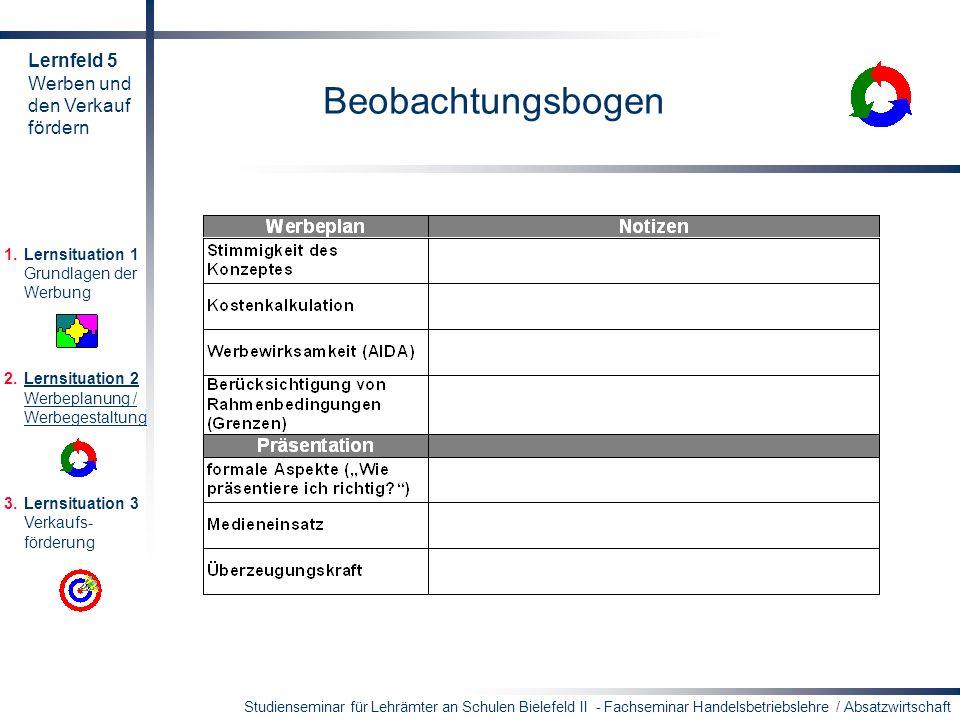 Beobachtungsbogen Lernfeld 5 Werben und den Verkauf fördern