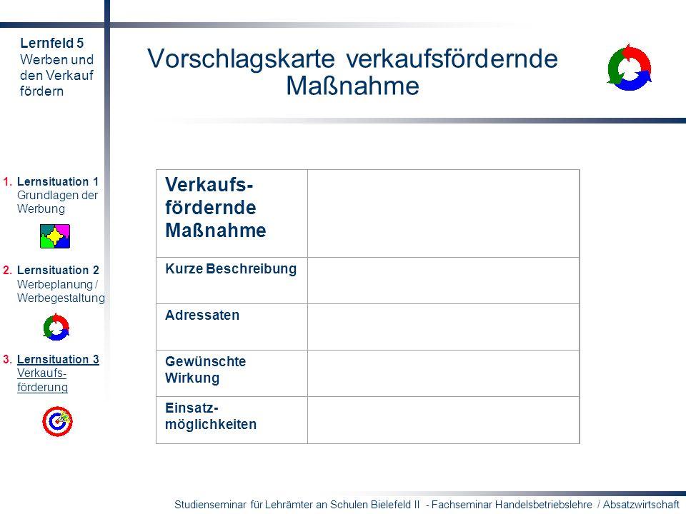 Vorschlagskarte verkaufsfördernde Maßnahme