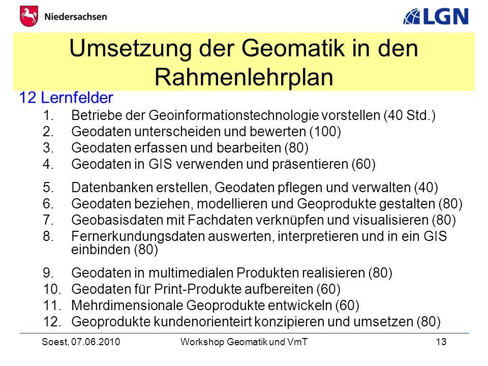 Umsetzung der Geomatik in den Rahmenlehrplan