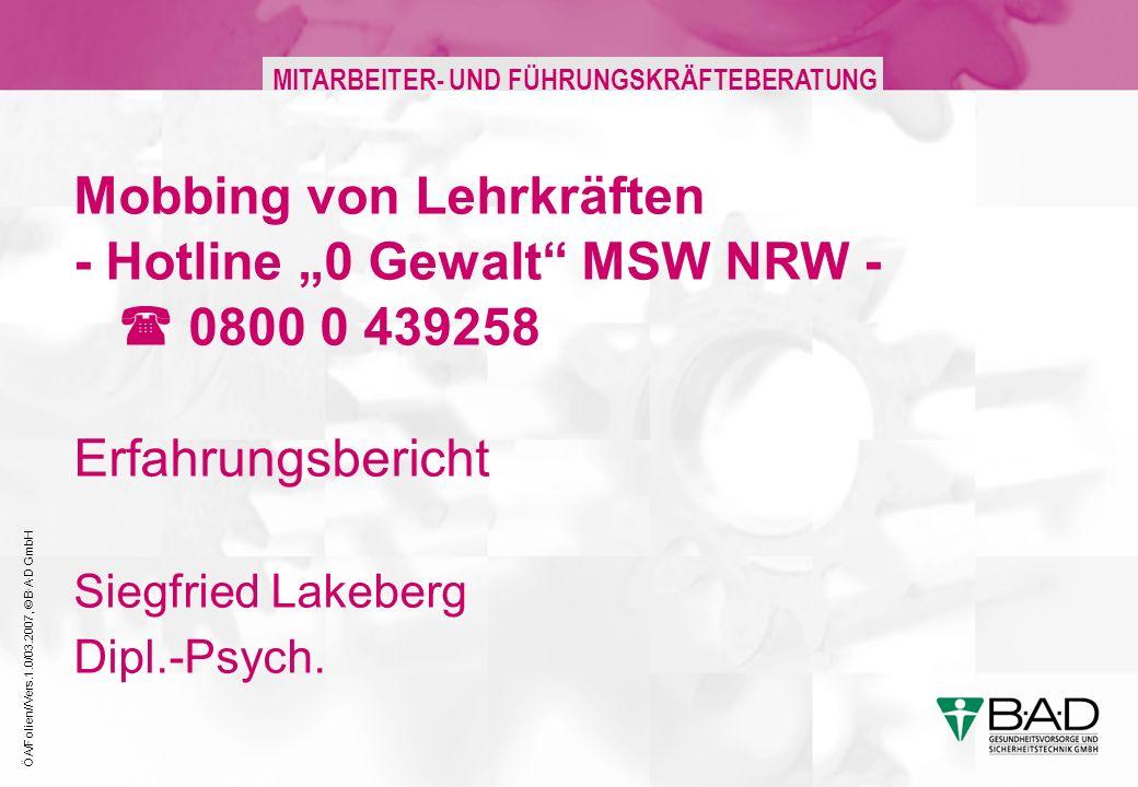 """27.03.2017 Mobbing von Lehrkräften - Hotline """"0 Gewalt MSW NRW -  0800 0 439258 Erfahrungsbericht Siegfried Lakeberg Dipl.-Psych."""