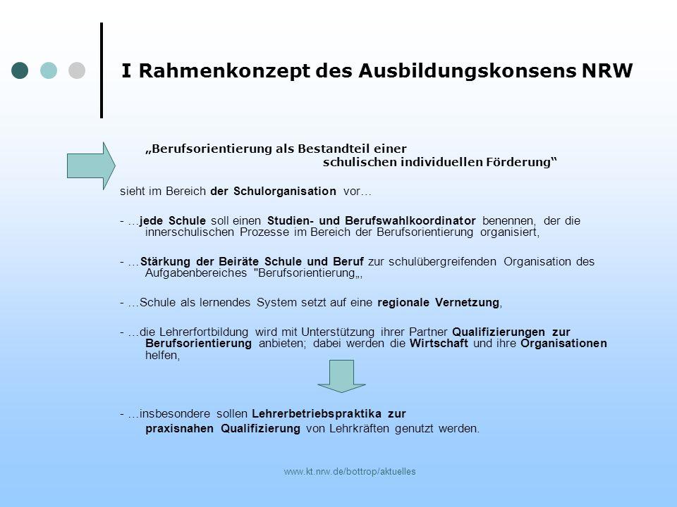 I Rahmenkonzept des Ausbildungskonsens NRW