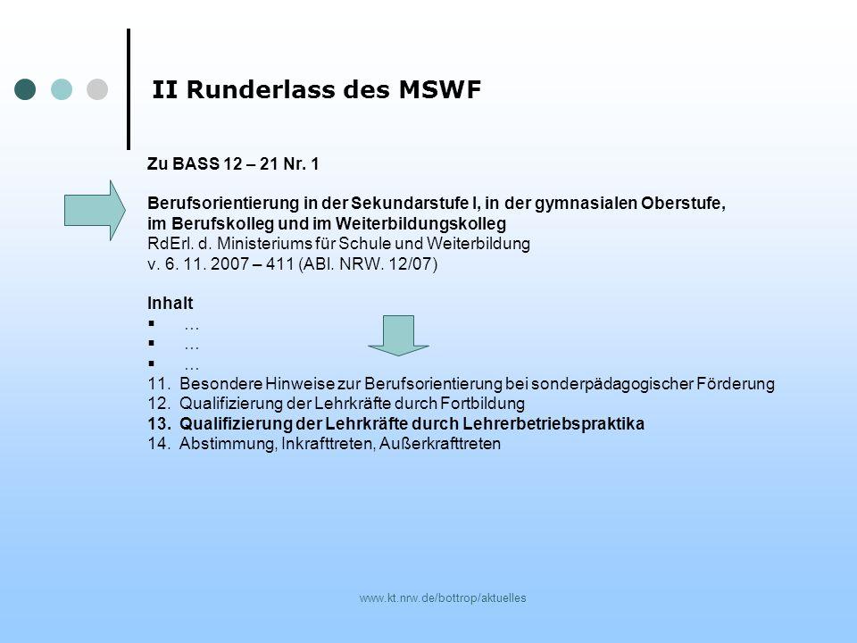 II Runderlass des MSWF Zu BASS 12 – 21 Nr. 1