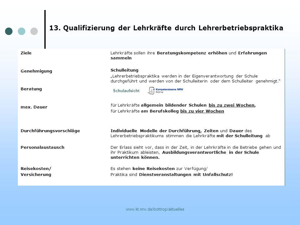 13. Qualifizierung der Lehrkräfte durch Lehrerbetriebspraktika
