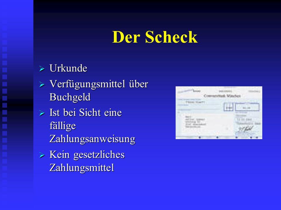 Der Scheck Urkunde Verfügungsmittel über Buchgeld
