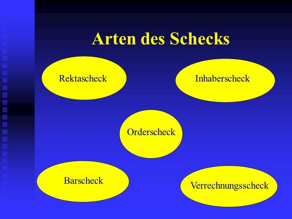 Arten des Schecks Rektascheck Inhaberscheck Orderscheck Barscheck