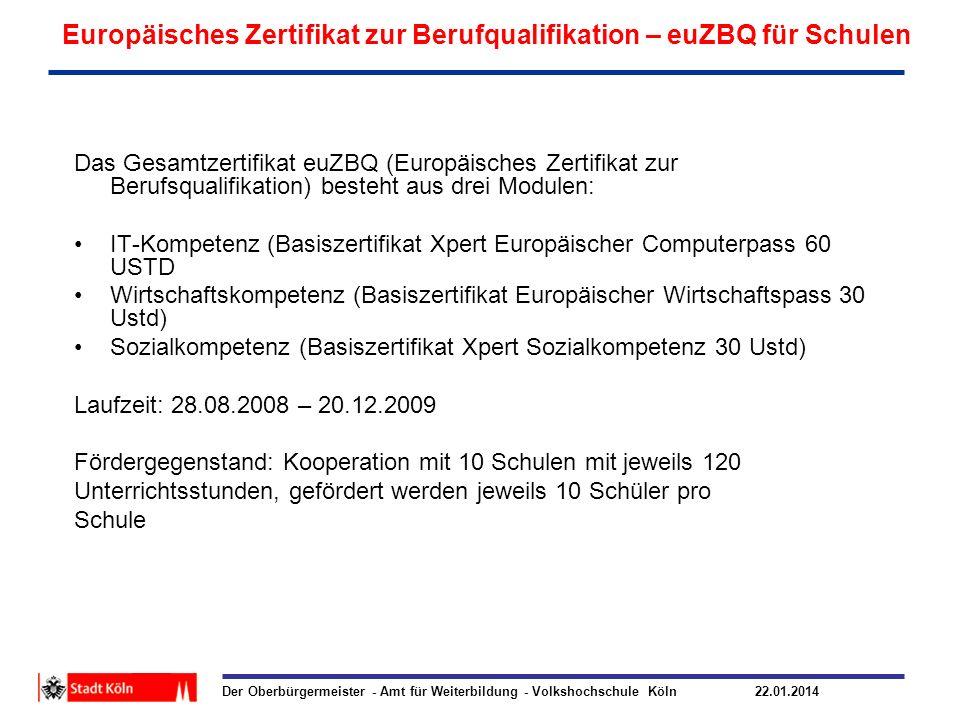 Europäisches Zertifikat zur Berufqualifikation – euZBQ für Schulen