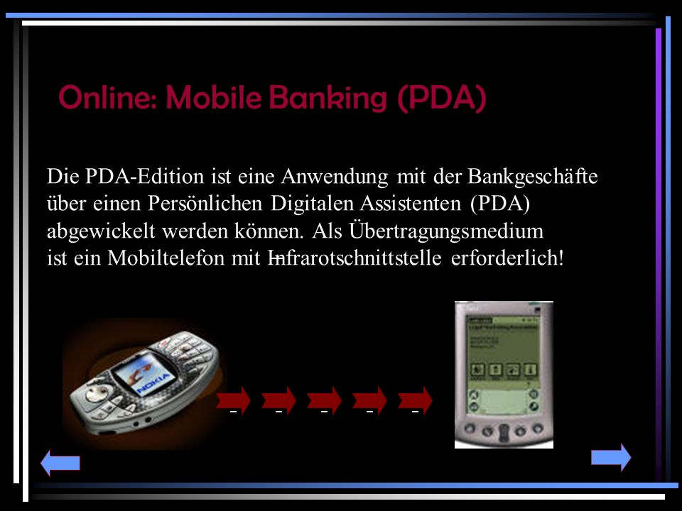 Online: Mobile Banking (PDA)